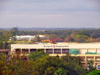 Military helicopter hovering over Westgate shopping mall