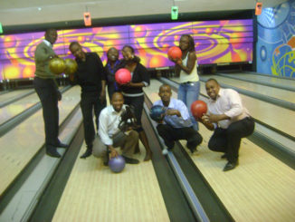Bowling at Village Market - Winning team posing for victors' pic